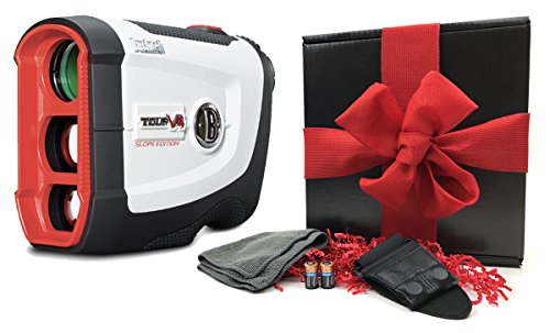 Bushnell Tour V4 Shift Patriot Pack GIFT BOX Bundle | Slope Shift Rangefinder, Carrying Case, Red Protective Cover, Magnetic Cart Mount, PlayBetter Microfiber Towel, Two (2) CR2 Batteries | Gift Box