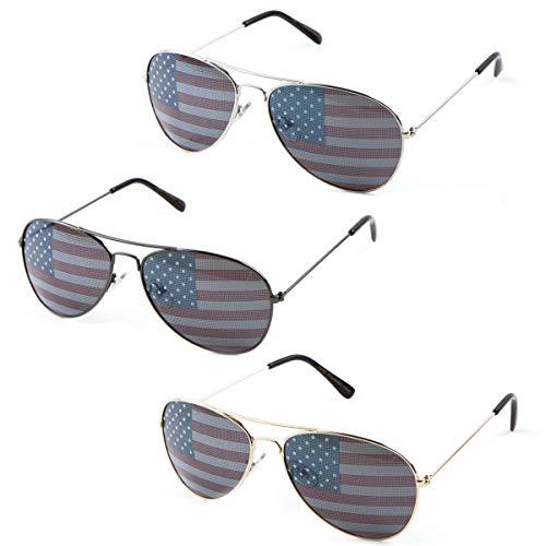 4th July American Flag Glasses USA Apparel Patriotic Gift Party America 3 bulk