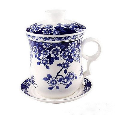 W&P Blooming Flowers High-grade Jade Porcelain Cups