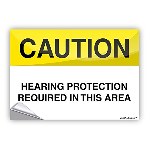Leiacikl22 Safety Alert Sticker Caution Hearing Protection Require, 10'' x 7'' Inches