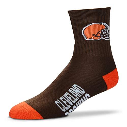 For Bare Feet Team Color NFL Quarter Socks Men's Large 10-13 - Cleveland Browns ()