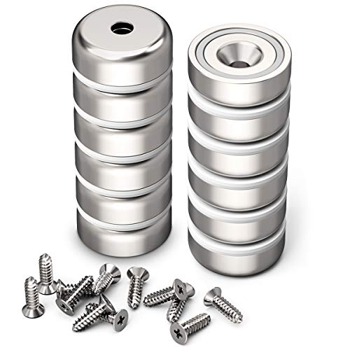GREATMAG Cup Magnets with Countersunk Hole, Magnet with Screw, Industrial Strength Round Base Magnets, 35 lbs Holding Force, Pack of 12
