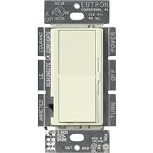 Lutron DVSCCL-153P-BI Diva Satin Colors Single Pole/3-Way CFL/LED Dimmer, Biscuit, 150-watt