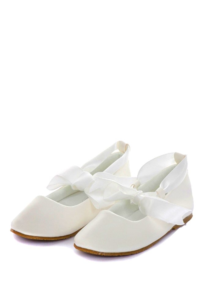 Girl's Ballet Flat Shoes with Ribbon Tie (Little Girl's 10, Ivory)