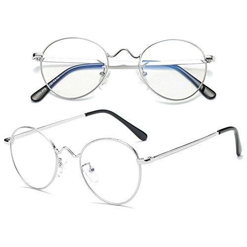 bleus rétro Inlefen de Silver décontractés anti verres sans force Lunettes Armature métal en optiques BxBnZIq1
