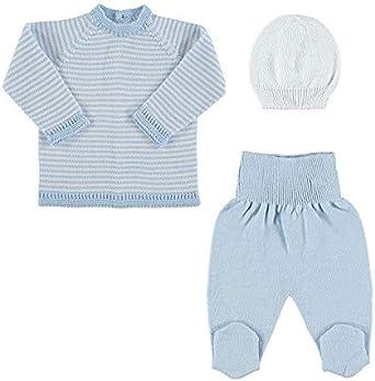 Petit Oh! - Conjunto de Punto para bebé de Jersey, Polaina y Gorro ...
