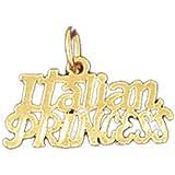 14K Yellow Gold Italian Princess Pendant Necklace - 14 mm