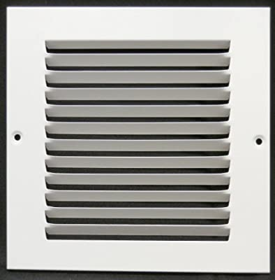 """6""""w X 6""""h Steel Return Air Grilles - Sidewall and Ceiling - HVAC DUCT COVER - White [Outer Dimensions: 7.75""""w X 7.75""""h]"""