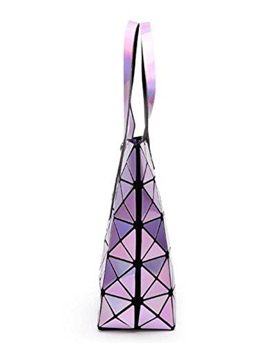Shoulder Lattice Kayers Bag Fluorescent Sulliva Geometric handle Women's Green Leather Glossy Top Handbags Pu Fashion Tote zrIqwzA