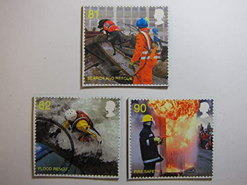 (Fire Rescue Magnets - Recycled Postage Stamps from the United Kingdom)