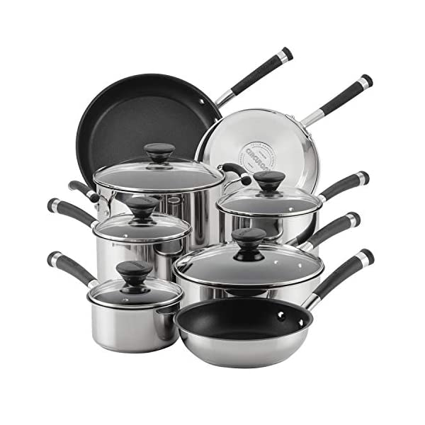Circulon Acclaim Stainless Steel Cookware Pots and Pans Set, 13 Piece, Black 1