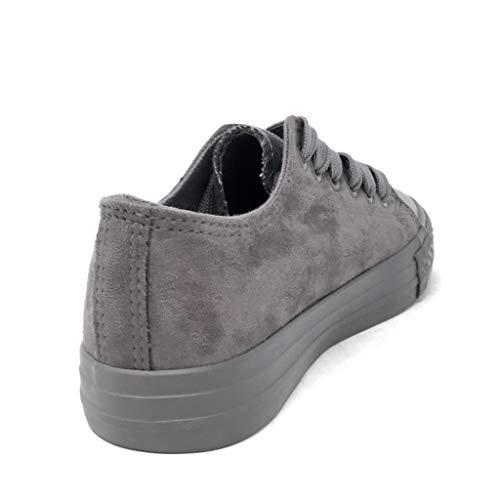 Sneaker Piatto Comfortable Donna Cm 3 Grigio Scarpe Angkorly Basic Tennis Moda 40 Tacco 6 666 T xS8wT
