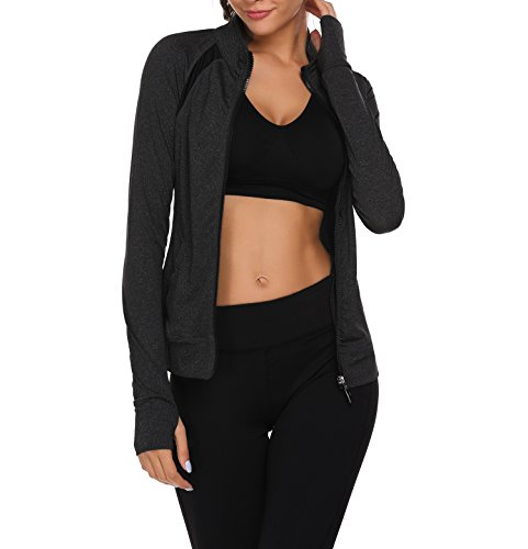 Zeagoo Women's Workout and Yoga Full Zip Up Slim Fit Fast-Dry Jacket...