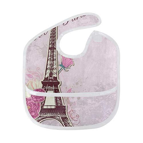 Baby Bibs Pink Roses Eiffel Tower Large Teething Boys Starter Bib/Smock ()