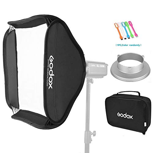 Godox Portable 32x32 inches /80x 80 Centimeters Studio Lighting Photo Softbox Diffuser Bowens Mount for Studio Flash Strobe with CONXTRUE USB LED