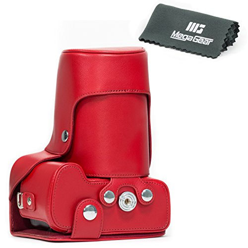 """MegaGear """"Ever Ready"""" Red Leather Camera Case for New Nik..."""