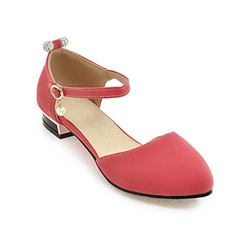 BalaMasa Womens Solid Huarache Nubuck Urethane Sandals ASL04889 Red Zilq5Nht