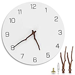 A+Selected 12 inch Silent Non-Ticking Wall Clock Battery Operated, Simple Modern White Round Ultra-Quiet Decorative Wooden Wall Clock with Bough Hands for Living Room Kitchen Home Office