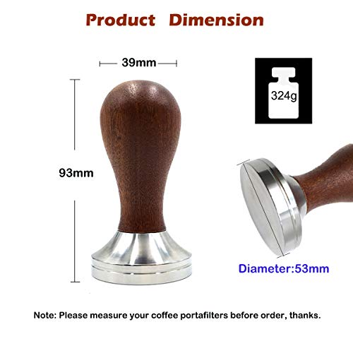 53mm Espresso Tamper Espresso Press Tamper Tool Flat Stainless Steel Base with Wooden Handle