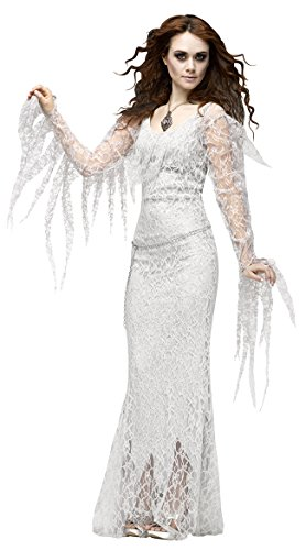 Ghost Bride Costume Women, Halloween Deluxe Victorian Scary Cosplay Dress with Veil White (L--US 12-14)