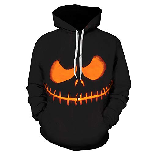 DEATU Mens Autumn Sweatershirt Sale, Clearance Halloween Grimace/Pumpkin Printing Long Sleeve Pullover Hoodie Tops(Black 2,XXL)