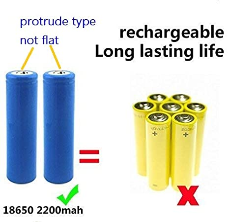 2 Pieces 18650 2200mah Batteries for Powerful LED Torches//Flashlights//Video Doorbells//Fans Universal UK Standard 3 Pin Plug High Power 3.7V 18650 Batteries and Charger Kit
