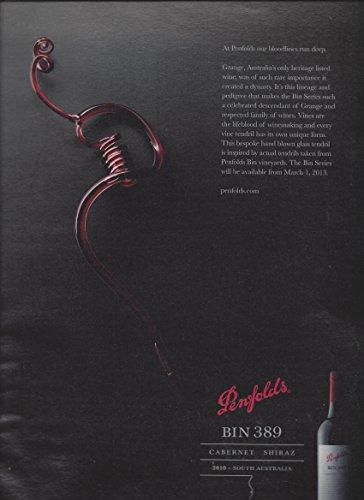 PRINT AD For 2010 Penfolds Bin 389 Cabernet Shiraz Wine Blown Glass Tendril S...