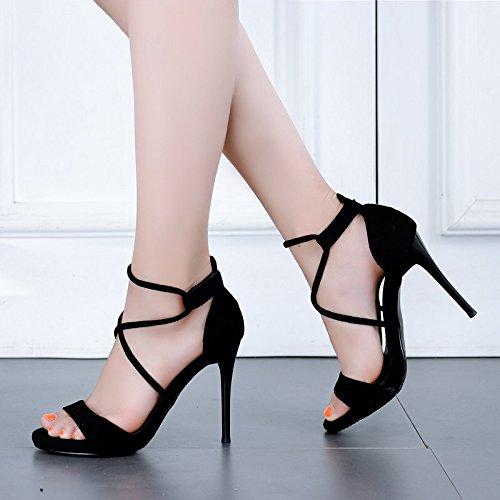GTVERNH Damenschuhe Sommer-Cross-Römischen Sandalen Schwarz Frisch Sexy und 10 cm Schuhe mit Hohen Absätzen.
