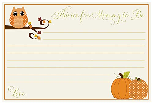 (Baby Shower Advice Cards, Unisex, Owl, Pumpkins, Fall, Wisdom for Mommy, Set of 24 Advice for The Mommy to Be Cards, Autumn is a Hoot Neutral)