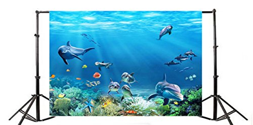(Yeele 8x6ft Oceanic Dolphins Photography Backdrops Vinyl Undersea World Anemone Fish Starfish Coral Underwater Sun Light Beam Photo Background Aquarium diving Baby Girl Portrait Studio Props)