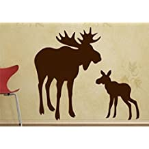 Moose Wall Decals - 64&quot High by 66.5&quot Wide, Mom With Baby Moose Decal - Moose Baby, Modern Nursery, Nursery Decals, Baby Decals, Woodland Theme - Wall Decals - PLUS FREE 12&quot WHITE HELLO DOOR DECAL