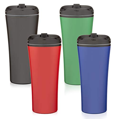 Set of 4 color coffee cup Insulated Travel coffee mug spill proof | Reusable coffee cups with lids | Insulated Coffee & Tea mug Keeps Hot or Cold | 16 oz | great for travel Liquor Sip.