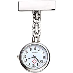 Top Plaza Nurse Fob Clip On Hanging Brooch Pocket Quartz Watch with Chain-Silver