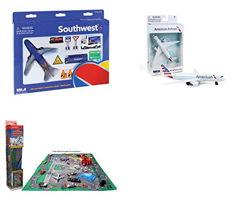 Toy Airplane Playset - Airport Playmat with Two 5.5