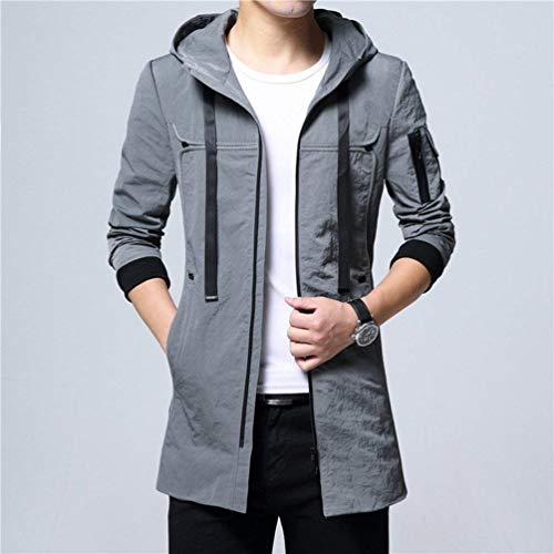 Tops Trench Autumn Apparel Jacket Hooded Men's Coat Grau and Coat Hooded Casual Outwear Youth Long Slim Overcoat Fit 5qqtavP