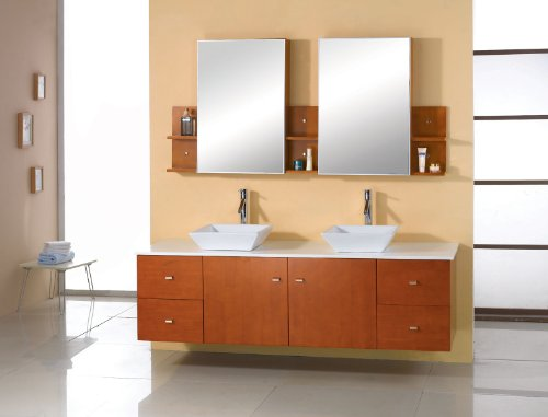 Virtu USA Clarissa 61 inch Double Sink Bathroom Vanity Set in Honey Oak w/ Square Vessel Sink, White Engineered Stone… - Bathroom Renovation - Featuring a minimal and floating design, the Clarissa offers simplicity while still providing an abundant amount of storage for your bathroom. Functional & Versatile - This bathroom vanity provides an abundance of storage with 2 functional doors and 4 functional drawers which are all installed on soft-closing hinges, creating an elegant bathroom experience. Easy Installation - Our factory assembled base cabinet is fully assembled for easy installation. - bathroom-vanities, bathroom-fixtures-hardware, bathroom - 41S3z4hFZzL -