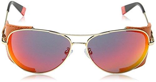 Furla - Lunette de soleil SU4291 Flore Aviator - Femme 58300R Shiny rose gold & orange detail / red / smoke multilayer mirror lens
