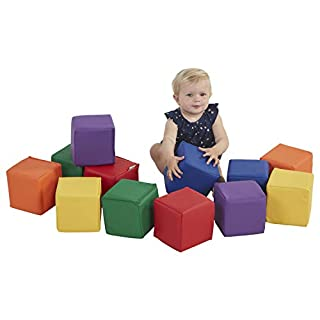 ECR4Kids SoftZone Patchwork Toddler Block Playset, Gentle Foam Blocks for Safe Active Play and Building, Built to Last, Certified and Safe, 12-Piece Set, Primary, Model Number: ELR-033