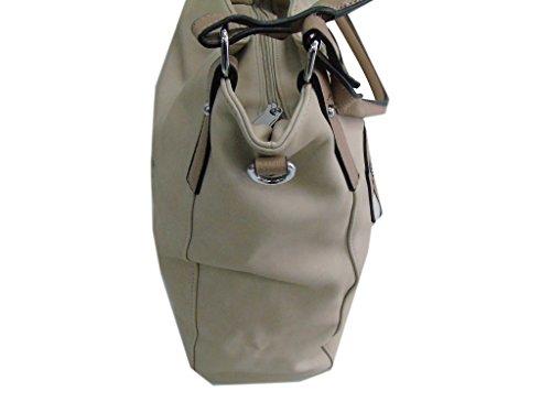 Borsa donna modello shopping a spalla Melas linea zip 802-2 taupe
