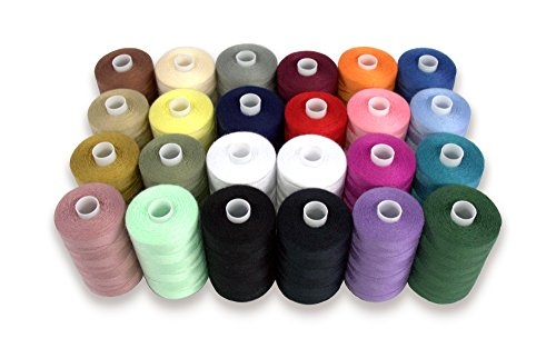 (SEWING AID All Purpose Polyester Thread for Hand & Sewing Machine, 24 Spools in Assorted Colors, 1000 yd Each, Double of Black & White Threads)