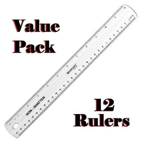 Westcott Non-Shatter Ruler, Clear, 12 Inches, 12 Pack -
