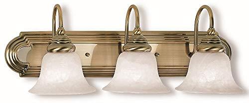Livex Lighting 1003-01 Belmont - Three Light Bath Bar, Antique Brass Finish with White Alabaster -