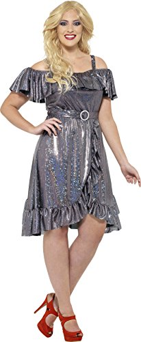 70's Theme Party Costume (Smiffy's Women's 1970's Disco Diva Costume, Dress and Belt, 70 Disco, Serious Fun,  Size 14-16, 24342)