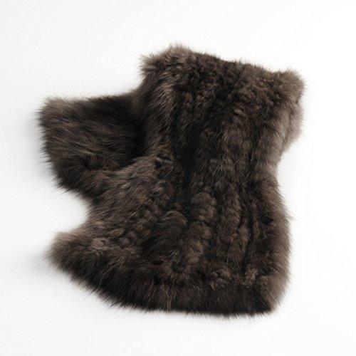 レディース毛皮マフラーセーブルファー編み込みフレアデザインダーク系黒