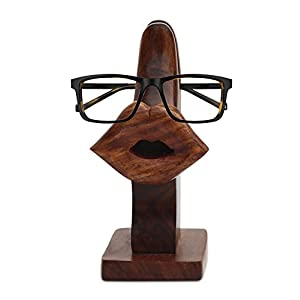 """SouvNear Lips Eyeglass Holder 5"""" Witty Spectacle Holder - Handmade Brown Wooden Hand Carved Spectacle Table Top - Desktop Accessories for Office and Study Table"""
