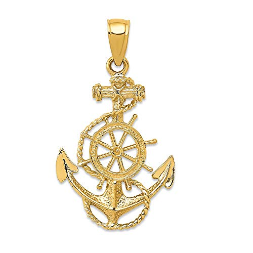 14k Yellow Gold Nautical Anchor Ship Wheel Mariners Pendant Charm Necklace Sea Shore Man Fine Jewelry Gift For Dad Mens For Him 14k Gold Nautical Anchor