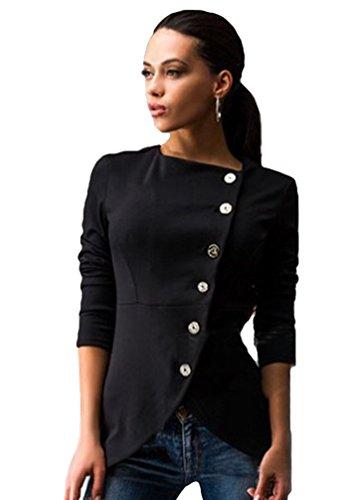 WanYang Mujeres Manga Larga de la Coat Jacket Chaqueta Abrigo Otoño Invierno Calle Mujer Chaquetas Negro