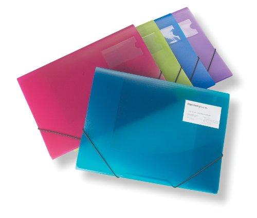 Rapesco A4+ 3-Flap Folio - Assorted Transparent Colors (Pack Of 5)