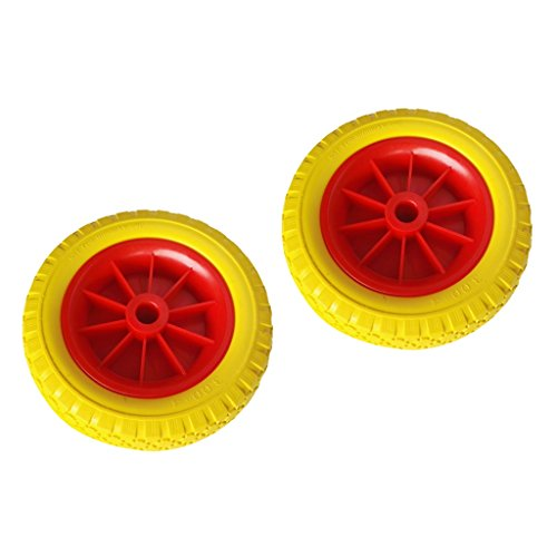 MagiDeal 1 Pair of 8'' 0.76'' Durable Puncture Proof Rubber Tire on Red Wheel for Kayak Trolley Cart Boat Trailer 8' Polyurethane Wheel