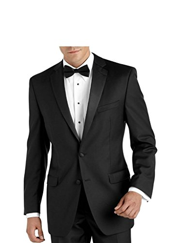 Carlo Lusso C67901 Men's 2 Button Satin Notch Lapel Black Tuxedo Suit - Black - 48L (Black On Black Suit)